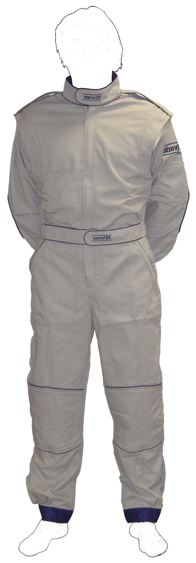 Stock grey with Navy blue piping K09 go-kart suit